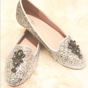 Shoes - Silver Grey Jeweled Glitter Loafer Size 6.5 Shoes